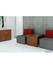 Ławka ŁO12. Stelaż metalowy, siedzisko drewniane listwy. Wymiary w mm (wys x szer x gł): 460 x 1200 x 440