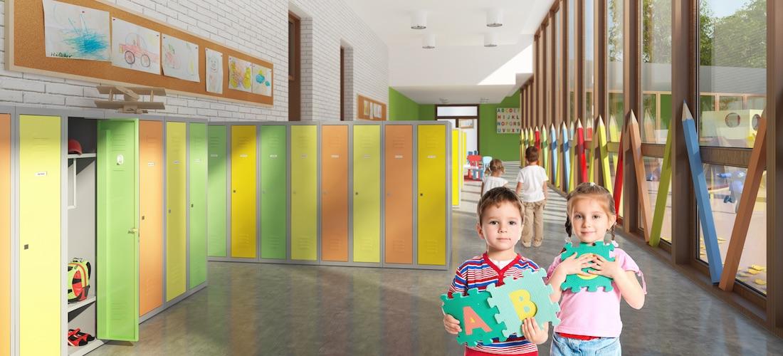 Szafy szafy do szatni, szafy przedszkolne, szafy metalowe, meble metalowe, szatnia przedszkolna