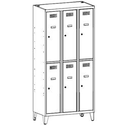 Szafa socjalna, szafa do szatni, szafa metalowa, meble metalowe, szafy metalowe SUS 332 W st na nóżkach