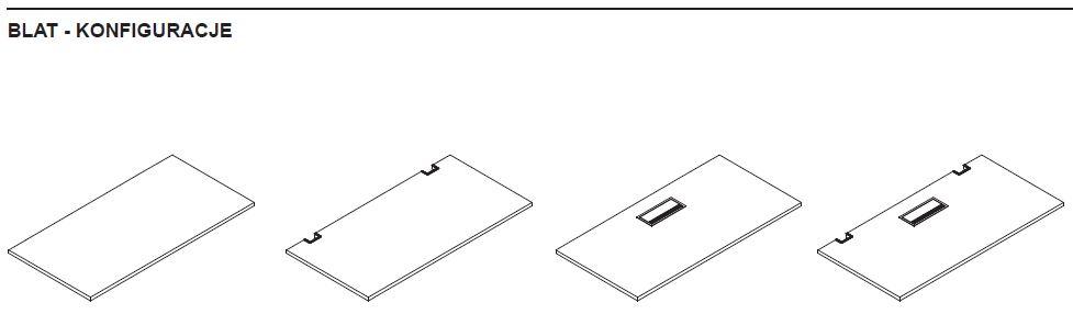 Konfiguracja blatu biurka z elektrycznie regulowaną wysokością