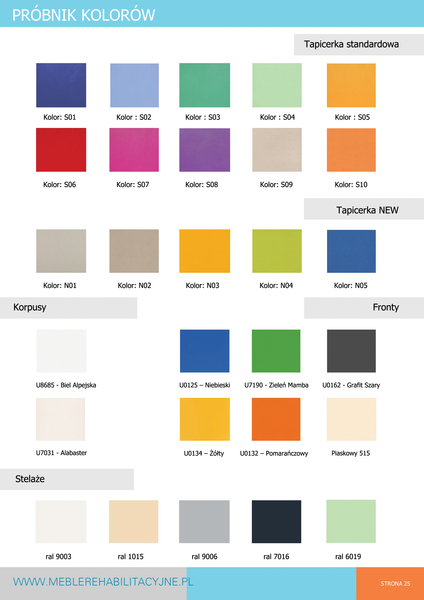 Wzornik kolorów stołów rehabilitacyjnych